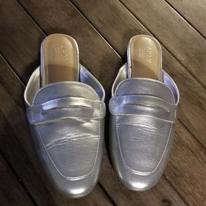 NWOT Silver Faux Leather Loafer Mules